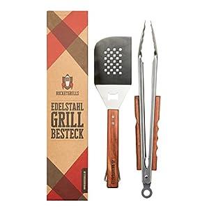 Rocketgrills Hochwertiges Grillbesteck Set extra große Grillzange - Edler Wender