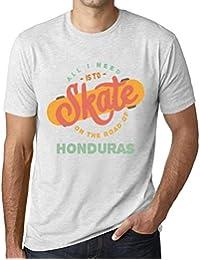 Hombre Camiseta Vintage T-Shirt Gráfico On The Road of Honduras Blanco Moteado