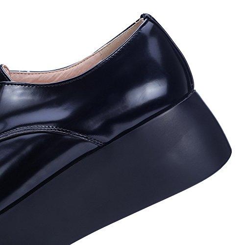 VogueZone009 Donna Tacco Medio Puro Allacciare Pelle Di Maiale Scarpe A Punta Ballerine Nero