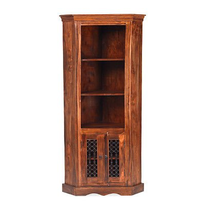 Madras Solid Sheesham Wood Jali Large Open Corner Bookcase Display Cupboard Unit, Honey Brown, H 182 x W 85 x D 58 cm