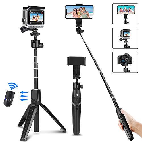 PEYOU Palo Selfie Trípode para Gopro Movil,104cm Palo Selfie Movil con Bluetooth Control Remoto, Gopro Adaptadores y Soporte Movil, Compatible para iPhone X/8/7, para Galaxy Note, para Huawei Xiaomi