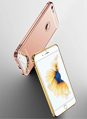 iPhone 5C Hülle, Vandot SPIEGEL Mirror Schutzhülle für iPhone 5C Handyhülle Luxus Strass Kristall Zurück Case Ultra Dünn Thin Metall Aluminium Back Cover Handytasche mit PC Kunststoff Plastik Hart Har Mirror Rose Gold0