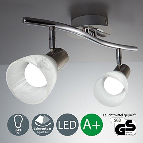B.k.licht plafoniera led con faretti orientabili i lampada da soffitto moderna con 2 luci i metallo color nickel opaco e vetro i incl. 2 lampadine da 5w i 230v i e14 i ip20