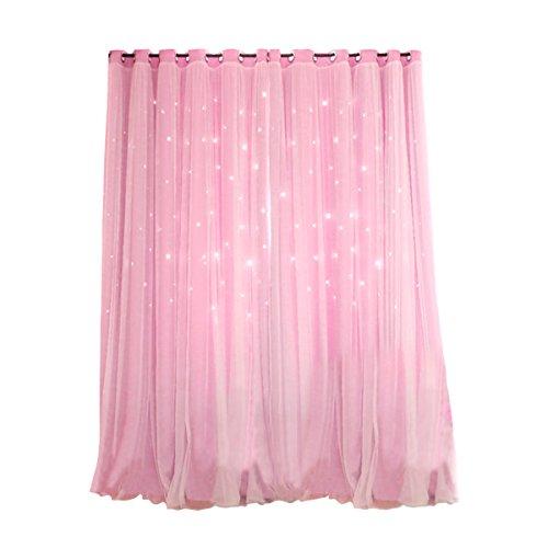 VORCOOL Sterne Vorhänge Blickdicht Gardinen Verdunkelungsvorhänge 2 Schichten Aushöhlen Form mit Ösen Gaze für Mädchen Party Schlafzimmer Deko (Rosa) - Baby-mädchen-kinderzimmer-fenster-vorhang