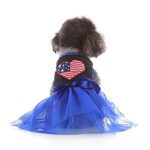 dung Mode Haustier frühling und Sommer Liebe Herz nationalflagge Rock Hund kostüme hundekleidung ()
