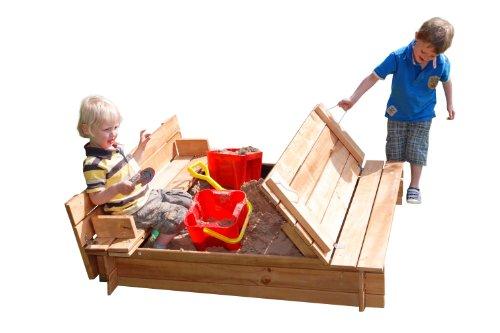 Garden Games Quadratischer Sandkasten aus Holz, mit aufklappbarem Deckel, der zu einer Sitzbank wird
