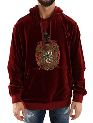 Dolce & Gabbana - Herren Pullover - Hoodie - Men Sweater Bordeaux Velvet Hooded Sweater - Size: 56 - Dolce Gabbana Herren Pullover
