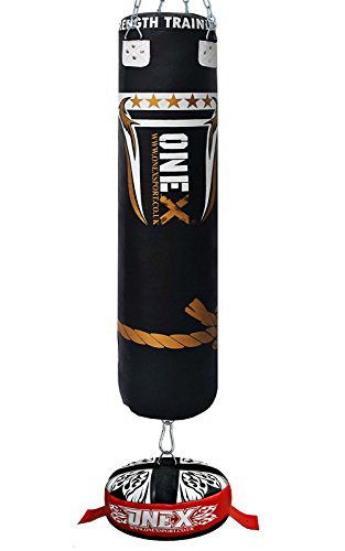 onex-4pieces-boxing-set-5ft-unfilled-heavy-punch-bag-anchor-support-chain-hook-training-punching-bag
