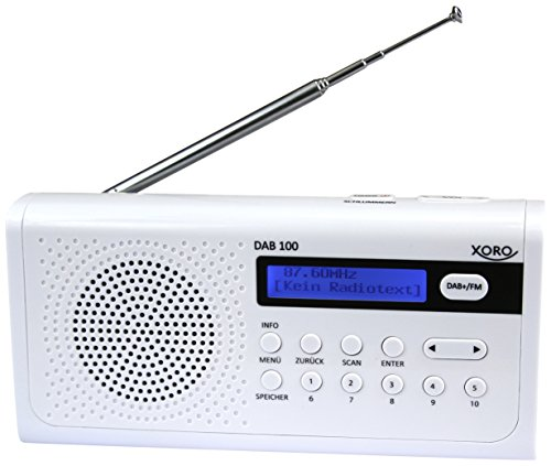 Xoro DAB 100 Tragbares DAB+/FM Radio (10 Senderspeicher, Weckfunktion, LCD Display, Metall-Teleskopantenne) weiß