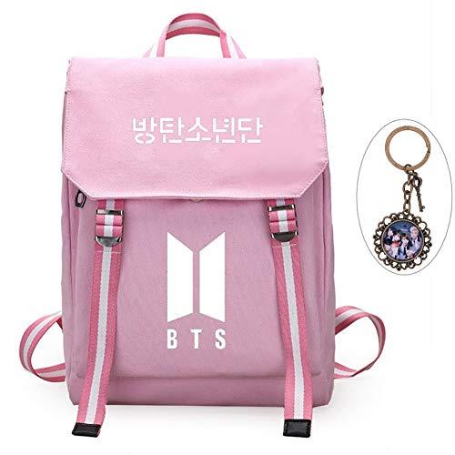 YEeyuTrwd BTS Rucksack KPOP BTS Bangtan Boys Schulranzenrucksack Laptop/Hochschule/Büchertasche BTS Album Fans Tasche mit einem Weinles Schlüsselanhänger(Pink 2) Jacken Fan