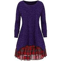 ZIYOU Oversize Lange Ärmel T Shirts Damen, Frauen Casual Einfarbig Pullover Streetwear und Rock Kariert Set