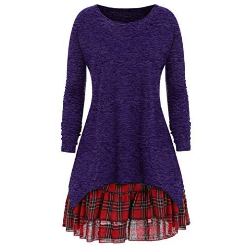 ZIYOU Oversize Lange Ärmel T Shirts Damen, Frauen Casual Einfarbig Pullover Streetwear und Rock...