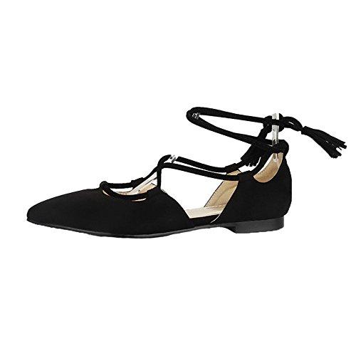 AgeeMi Shoes aux Femmes Lace-Up Suede Non Talon Chaussures Légeres Noir