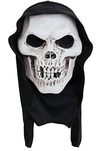 Bristol Novelty PM172 Totenkopf-Maske, Unisex, Weiß/Schwarz, Einheitsgröße