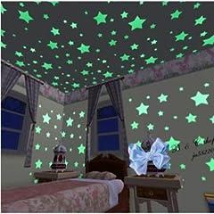 Idea Regalo - Adesivi Fluorescenti per Cielo Stellato Adesivi Luminosi a Forma di Stelle da Parete per Cameretta dei Bambini