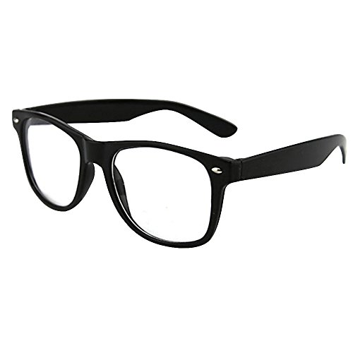 Mode Spaß Unisex Klare Linse Nerd Geek Gläser Brille (Schwarz)