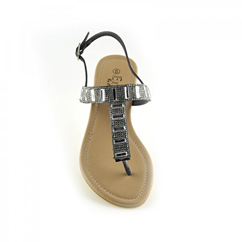 Damen-Mode-Sommer-Sandalen-Classic-Party-Looks Schwarz
