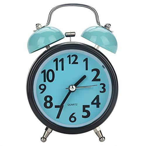 Fdit Doppelglocke, ultraleise, mechanisch, batteriebetrieben, Alarm, Wecker, geräuscharm, Quarz, Uhrwerk für Büro und Tisch blau