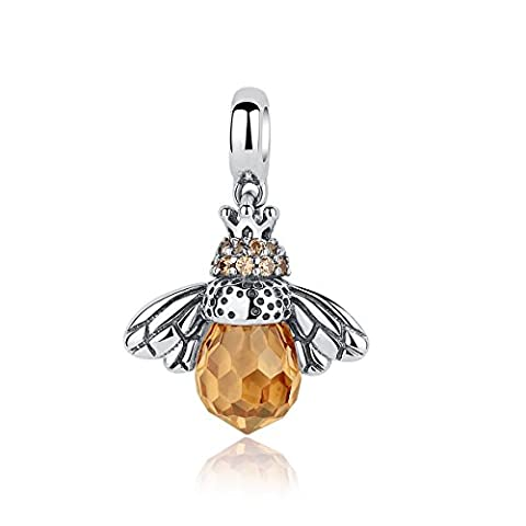 BAMOER 925 Sterling Silver Cute Orange Queen Bee Animal Pendant Necklace for Women Fashion Jewelry