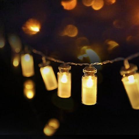 S & G Lights de Noël imperméables à l'eau IP44 8 modes Vintage Glass Jar LED feux de fête avec 20 Warm White LED - Batterie utilisée