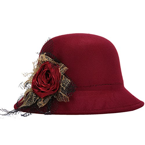 KAXIDY Femme Chapeau Fleur Classique Rétro Chapeaux Melon Laine Voyage Soirée Vin rouge