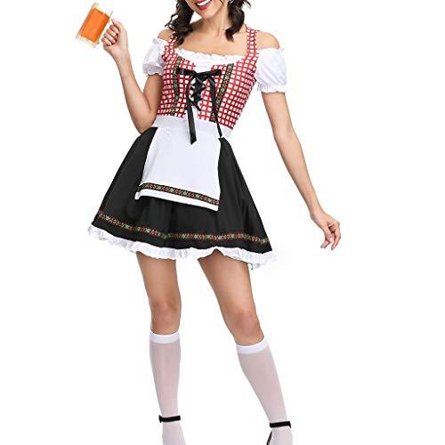 Schürze Kostüm Kleid Set - Chejarity Dirndl Oktoberfest Trachtenkleid Damen Traditionelle Kostüm Set:Kleid, Schürze Halloween Karneval Party Cosplay Bar Maid Kostüm Kariert Bekleidung Wiesn Trachtenrock (M, rot)