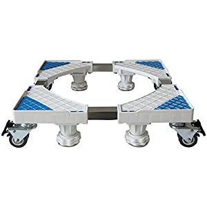 Multi-functional Movable Adjustable Trolley 360° Rotate With 4×2 Swivel Wheels+4 Strong Feet For Washing Machine Pedestal Fridge Base Rack Mat by qzq