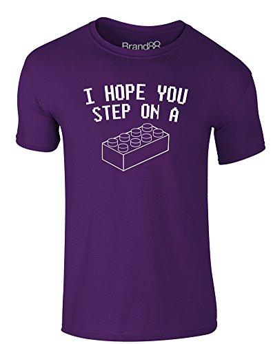 Brand88 - I Hope You Step On..., Erwachsene Gedrucktes T-Shirt Lila/Weiß