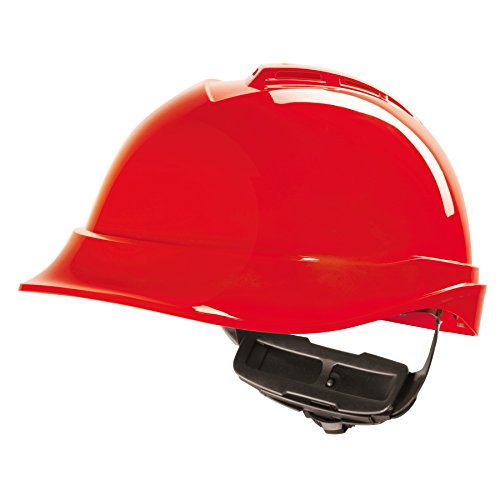MSA V-Gard Caschi EN397 - Casco dell'operaio di costruzione Elmetto da lavoro Casco protettivo in div. mod. Colori - rosso, V-Gard 200 Premium