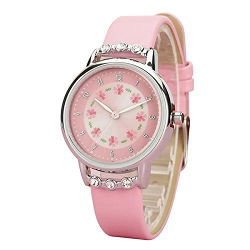 MODIWEN Cute Girls Clock Analog Kids Watches with Leather Strap Waterproof Wrist Watch