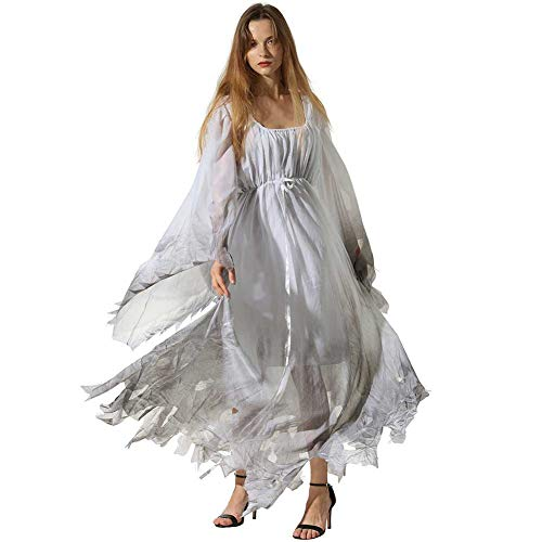 GLXQIJ Halloween Womens Kostüm Plus Size Scary Ghostly Friedhof Zombie Braut Hochzeitskleid Kostüm,White,XL (Friedhof Zombie Kostüm)