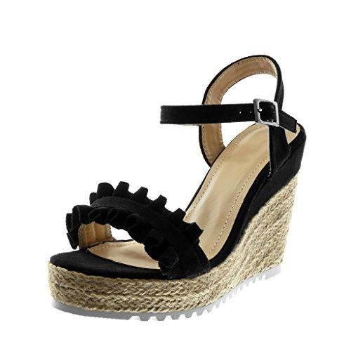 Angkorly scarpe moda sandali espadrillas con cinturino alla caviglia suola di sneaker zeppe donna corda intrecciato con volant tacco zeppa piattaforma 11.5 cm - nero t603 t 39