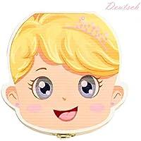 Holz Milchzähne Box Deutsch Version, Baby Kinder Original Holz Haar Milchzahndose Speicher Aufbewahrungsboxen Geschenk für Jungen Mädchen