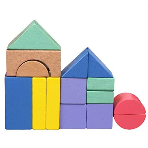 Jixing 46 STÜCKE Holz Regenbogen Bausteine Pädagogisches Spielzeug Bausteine Baukasten Kit Puzzle Spielzeug Geometrie Ziegel für Ihre Kinder