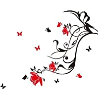 Pegatina Adhesivo vinilo decorativo pared Letras Flor Mariposa Rojo 60*55CM