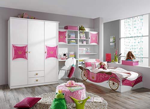 Rauch Kinderzimmer Jugendzimmer Weiß-Rosa, 4-teilig, Stellmaß BxHxT 326x199x238 cm - Bett, Jugend-schlafzimmer-set