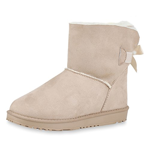 SCARPE VITA Warm Gefütterte Damen Stiefeletten Schlupfstiefel Boots Schuhe 153048 Creme Creme 40