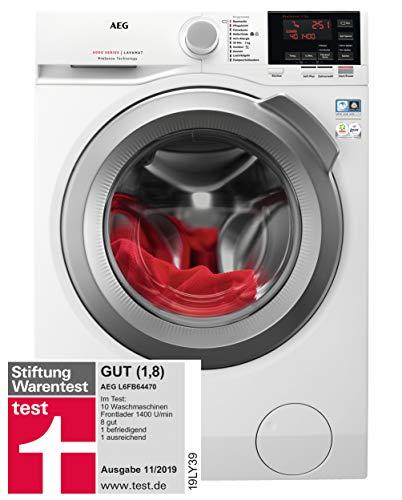 AEG L6FB64470 Waschmaschine Frontlader / 157,0 kWh/Jahr / Waschautomat mit Mengenautomatik / Schutz für edle Textilien dank ProTex Schontrommel (7 kg) / leiser und robuster Öko Inverter-Motor