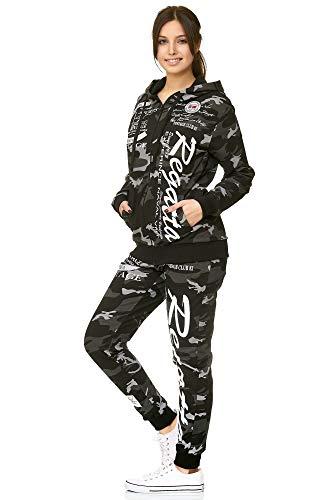 Damen Trainingsanzug   Regatta 672   Jogging-Anzug aus 100% Baumwolle   Trainings-Jacke mit Reißverschluss   Jogging-Hose mit Tunnelzug und Zugband   Sport-Anzug (L-fällt größer aus, Camouflage)
