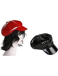 Schirmmütze Schirmcap Lackmütze Lack Fashion Cap rot schwarz Fasching Karneval Balkonmütze schwarz