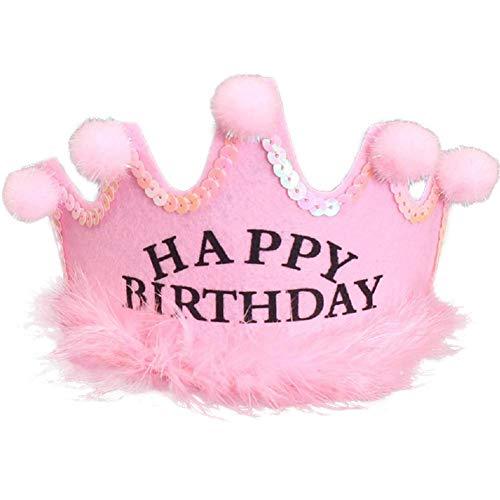Kindergeburtstag liefert Partyhut König Kronkappe Pompom Hut Baby-Geburtstagsfeier Geburtstag Hut für Kinder Erwachsene Kinder Baby Prinzessin Tiara Pom Krone König Sparkle Gold Flower Style