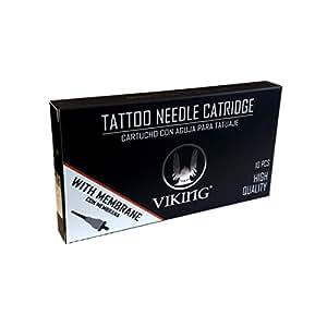 Packung mit 10 PATRONEN Viking-Ink - 3 Round Shader Tattoo-Tools, 10 Stück Einweg-Permanent Make-up Tattoo Cartridge Zubehör RL/RM/M1/RS für Make-up-Maschin
