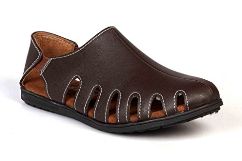 Levanse New Matty Brown Crocs Synthetic Leather Sandals for Men / Boys . (Size 9)  available at amazon for Rs.699