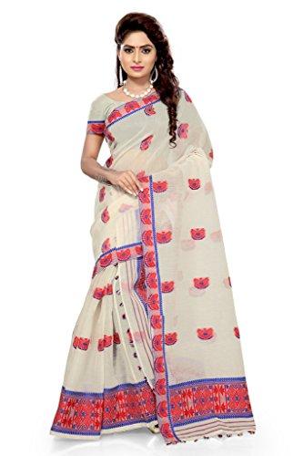 S. Kiran's Assamese White Bua Artificial Nuni Mekhla Chador - Mekhela Sador