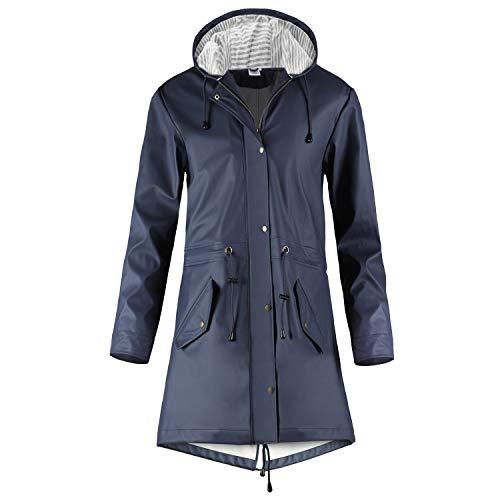 SWAMPLAND Regenjacke Damen PU Windbreaker Mit Kapuze Wasserdicht Softshelljacke Wetterfest Übergangsjacke Regenmantel …, Blau, 42