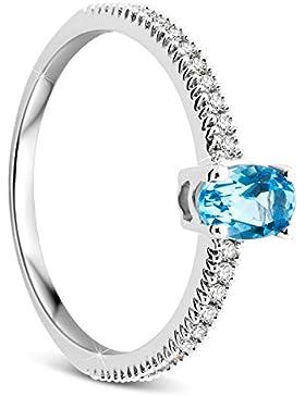 Orovi Damen Weißgold Verlobungsring Diamanten mit Blautopas Solitärring Diamantring 9 Karat (375) Brillianten...