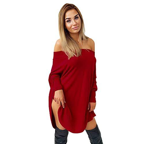 NPRADLA 2018 Herbst Winter Damen Kleider Elegant Frauen Einfarbig Schulterfrei Lange Ärmel Abend Party Maxi(Rot,S) -