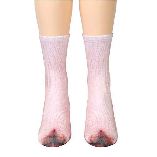 (KOBWA 3D Socken Unisex Erwachsene Socken Big Kids Animal Pfote Crew Socken, Pfote Socken für Frauen, Füße 13,7in 1Paar Schwein)