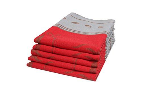 ZOLLNER 5er Set Geschirrtücher Baumwolle, 50x70 cm, rot (weitere verfügbar) (Baumwoll-geschirrtücher Rot)