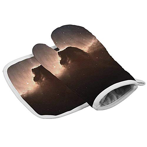 Oven Mitts Insulation Gloves Heat Resistant Glove Insulation Hot Pan Mat Kitchen Cooking Tool for Microwave Oven Baking Barbeque Set of 2,Horse Head Nebula Galaxy Stars,Kitchen Set